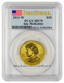 2013-W Ida McKinley $10 First Spouse Gold PCGS MS70 FS Mint State 70 First Strike ***FLAG LABEL***