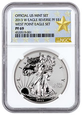 2013-W Reverse Proof Silver Eagle NGC PF69 (West Point Gold Star Label)