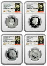 2014 P+D+S+W four-coin Silver Kennedy Half Dollar commemorative set NGC PF+SP 70 ER Proof and Specimen 70 Early Releases *** SIGNATURE LABEL***