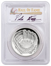 2014-P Baseball Hall of Fame Commemorative Silver Dollar PCGS PR69 DCAM Pedro Martinez Signed Label