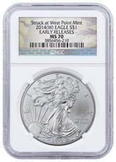 2014-(W) Silver Eagle Struck at West Point NGC MS70 ER Camo Label