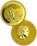 2014-P Australia 1 Troy Oz .9999 Fine Gold Kangaroo $100 Coin In Original Perth Mint Capsule