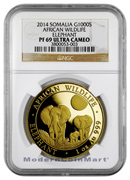 2014 Somalia 1 Troy Oz .999 Gold Elephant -African Wildlife 1000 Shillings NGC PF69 UC Proof 69 Ultra Cameo