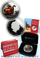 2014-P Australia Proof Colorized 1 Troy Oz .999 Fine Silver Lunar (Series 2) Year of the Horse $1 Coin In Original Perth Mint Packaging