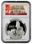 2014 Tokelau 1 Oz Silver Year of the Horse One of First 750 Struck S$5 NGC PF69 UC P