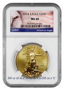 2014 $50 1 Oz Gold American Eagle NGC Min