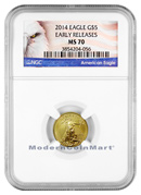 2014 $5 1/10 oz. Gold Eagle NGC Mint State 70 ER MS70 Early Releases ***EXCLUSIVE AMERICAN EAGLE LABEL***