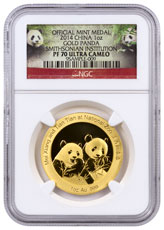2014 China Mei Xiang and Tian Tian Smithsonian Institution Official Mint Medal 1 oz Gold Proof Medal Scarce and Unique Coin Division NGC PF70 UC Panda Label
