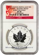 2014 Canada 1 Troy Oz .9999 Silver Maple Leaf Lunar Year of the Horse Privy Mark - Reverse Proof $5 Coin NGC PF70 Early Releases Proof 70 ER ***HORSE LABEL***