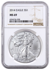 2014 American Silver Eagle NGC MS69 Brown Label