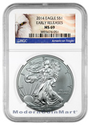 2014 Silver Eagle NGC Mint State 69 ER MS69 Early Releases ***EXCLUSIVE AMERICAN EAGLE LABEL***