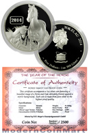 2014 Tokelau Proof 1 Oz Silver Year of the Horse $5 In Original Capsule w/ COA