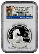 2014 Great Britain 1 oz. .999 Silver Proof £2 Lunar Year of the Horse NGC PF69 UC ER Proof 69 Ultra Cameo Early Releases ***EXCLUSIVE LABEL***