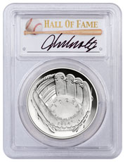 2014-P Baseball Hall of Fame Commemorative Silver Dollar PCGS PR70 DCAM John Smoltz Signed Label