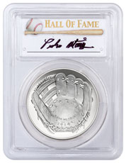 2014-P Baseball Hall of Fame Commemorative Silver Dollar PCGS MS70 Pedro Martinez Signed Label