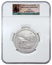 2014-P Great Smoky Mountains 5 oz. Silver America the Beautiful Specimen Coin NGC SP69