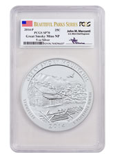 2014-P Great Smoky Mountains 5 oz. Silver America the Beautiful Specimen Coin PCGS SP70 (Mercanti Signed Label)