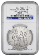 2014-P Civil Rights Act of 1964 Silver Dollar NGC MS70 ER Mint State 70 Early Releases