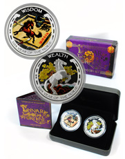 2014-P Tuvalu Year of the Horse 1 oz Silver Lunar Colorized Proof 2-Coin Set OGP