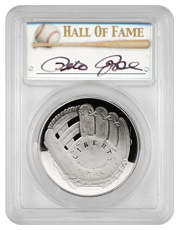 2014-P Baseball Hall of Fame Commemorative Silver Dollar Proof PCGS PR69 DCAM (Pete Rose Signed Label)
