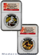 2014-P Tuvalu 2 Coin Set Proof Colorized Silver Lunar Year of the Horse Good Fortune Wealth and Wisdom NGC PF70 UC ER Proof 70 Ultra Cameo Early Releases ***HORSE LABEL***