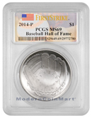 2014-P $1 Silver National Baseball Hall of Fame PCGS MS69 FS Mint State 69 First Strike ***BASEBALL LABEL***