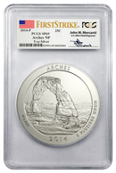 2014 5 oz. .999 fine silver America The Beautiful (ATB) Arches National Park Signed by John M. Mercanti PCGS SP69 FS Specimen 69 First Strike