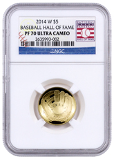 2014-W Baseball Hall of Fame $5 Gold Commemorative Proof NGC PF70 UC (Hall of Fame Label)