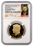 2014-W Gold 50c Kennedy 50th Anniversary High Relief NGC PF70 Ultra Cameo ER Proof 70 UC Early Releases ***SIGNATURE LABEL*** ***EXPECTED SHIPPING BEGINS 08/26***