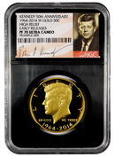 2014-W Gold 50c Kennedy 50th Anniversary High Relief NGC PF70 Ultra Cameo ER Proof 70 UC Early Releases ***BLACK CORE HOLDER*** ***SIGNATURE LABEL***