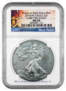 2014 (W) Silver Eagle Struck at West Point Mint NGC MS69 ER Mint State 69 Early Releases ***PURPLE HEART LABEL***