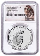 2015 Native American Silver Dollar - Idaho Blackfoot - Porcupine 1 oz Silver Proof Coin NGC GEM Proof Native American Label