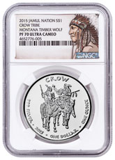 2015 Native American Silver Dollar - Montana Crow - Timber Wolf 1 oz Silver Proof Coin NGC PF70 UC Native American Label