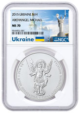 2015 Ukraine 1 oz Silver Archangel Michael NGC MS70 Ukraine Label