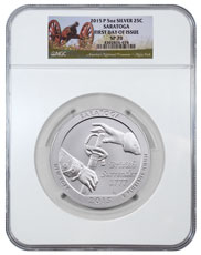 2015-P Saratoga 5 oz  Silver America the Beautiful Specimen Coin NGC SP70  First Day of Issue