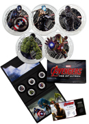 2015 Niue $2 1 oz. Colorized Proof Silver Marvel Avengers - Age of Ultron - Set of 5 Coins | GEM Proof (Original Mint Packaging with Iron Man COA)