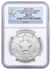 2015-P U.S. Marshals Service 225th Anniversary Commemorative Silver Dollar NGC MS70 FDI