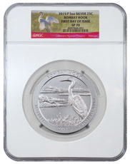 2015-P Bombay Hook 5 oz. Silver America the Beautiful Specimen Coin NGC SP70 FDI