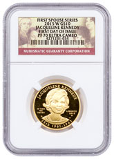 2015-W Jacqueline Kennedy First Spouse Gold Proof NGC PF70 UC FDI Spouse Label