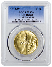 2015-W American Liberty Gold High Relief $100 PCGS MS70