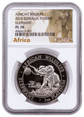 2016 Somalia 1 oz Platinum Elephant Proof-Like Sh1,000 Coin NGC PL70 Exclusive African Elephant Label