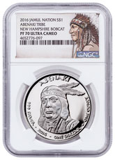 2016 Native American Silver Dollar - New Hampshire Abenaki - Bobcat 1 oz Silver Proof Coin NGC PF70 UC Native American Label