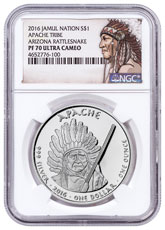2016 Native American Silver Dollar - Arizona Apache - Rattlesnake 1 oz Silver Proof Coin NGC PF70 UC Native American Label