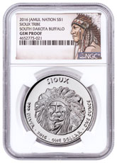 2016 Native American Silver Dollar - South Dakota Sioux - Buffalo 1 oz Silver Proof Coin NGC GEM Proof Native American Label