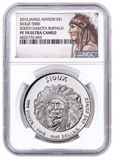 2016 Native American Silver Dollar - South Dakota Sioux - Buffalo 1 oz Silver Proof Coin NGC PF70 UC Native American Label