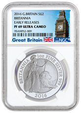 2016 Great Britain 1 oz Silver Britannia Proof £2 NGC PF69 UC ER (Exclusive Great Britain Label)