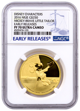 2016 Niue Disney Mickey Through the Ages - Brave Little Tailor 1 oz Gold Proof $250 NGC PF70 UC ER