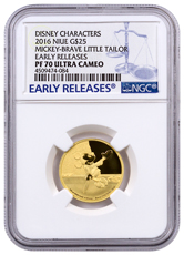 2016 Niue Disney Mickey Through the Ages - Brave Little Tailor 1/4 oz Gold Proof $25 NGC PF70 UC ER