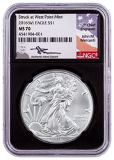 2016-(W) Silver Eagle Struck at West Point NGC MS70 Black Core Holder Mercanti Signed Label