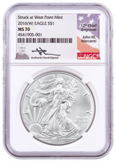 2016-(W) Silver Eagle Struck at West Point NGC MS70 Mercanti Signed Label